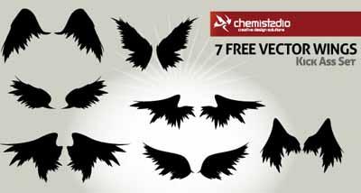 Set de 7 alas en vectores